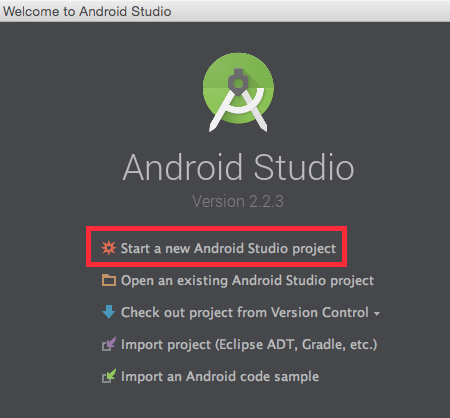 Start a new Android Studio application